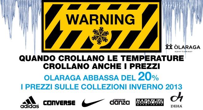 20% di sconto sulle nuovi collezioni autunno inverno, scarpe Nike, Adidas e Converse, abbigliamento Napapijri, Deha e Dimensione Danza. http://www.olaraga.com/3273-promozioni-novita