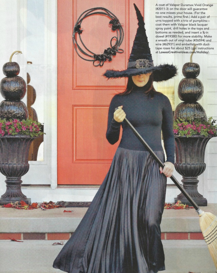 Halloween Door decor. I like her simple witch costume more