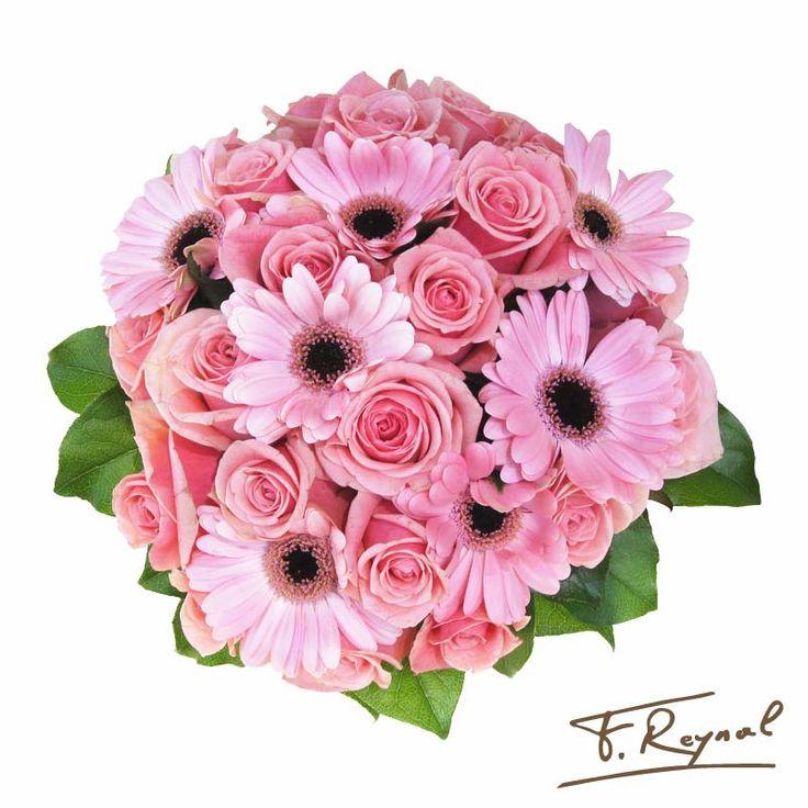 bouquet-rond-marguerite-rose
