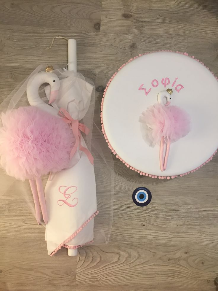 pink flamingo baptism box and candle exclusive design by cotton prince www.cottonprince.gr