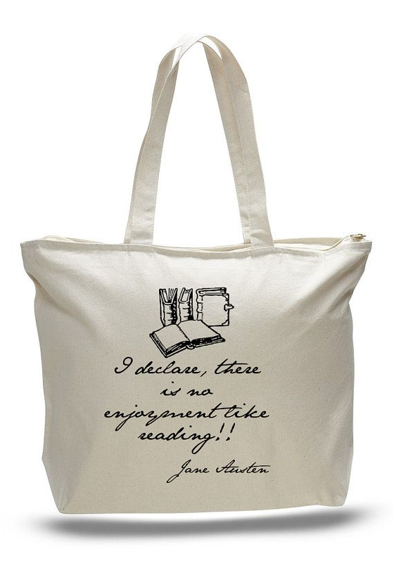 Jane Austen Reading Books Quote Tote Bag Book By NerdGirlTees