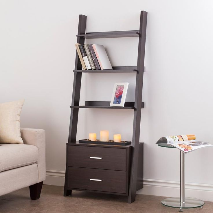 Ksp Incline Leaning Shelf Unit With 2 Drawers Espresso