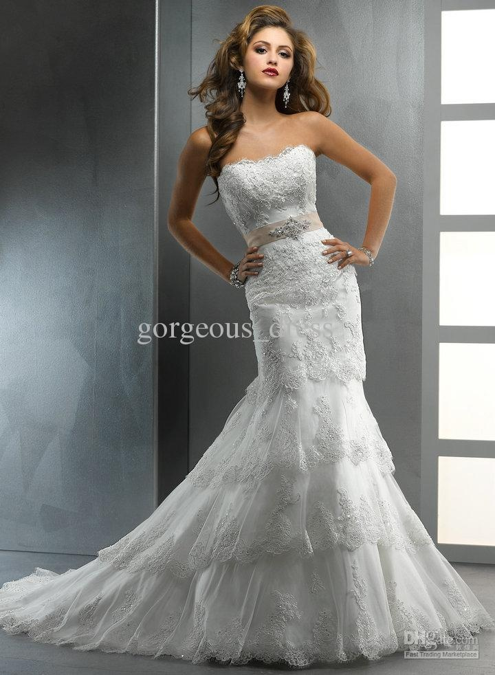 Awesome Most popular strapless laciness tiered mermaid floor length back zipper sexy bride wedding dresses