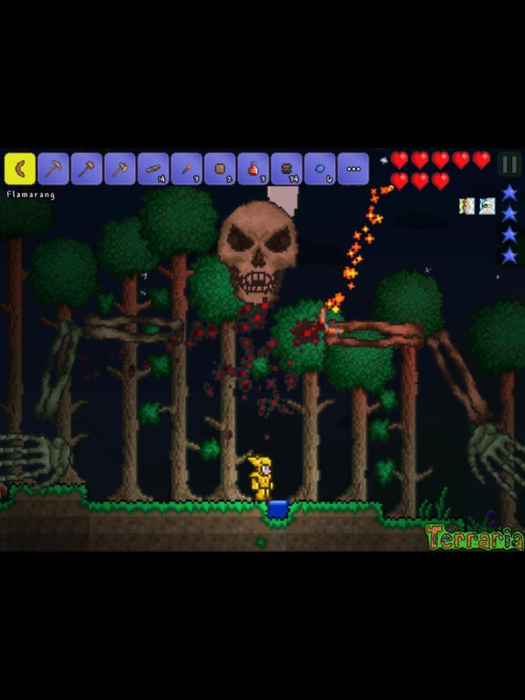 Fighting skeletron in the NEW terraria app!!
