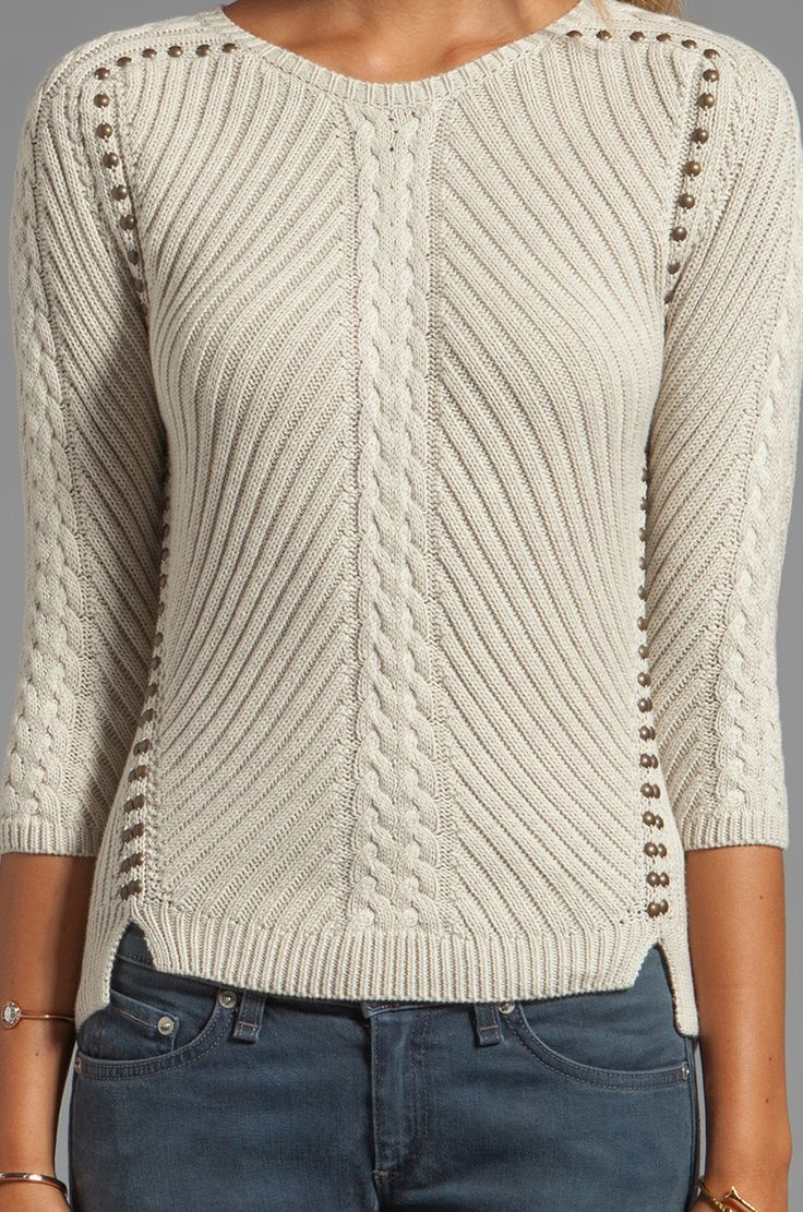 Studded Rib Cable Crew Sweater