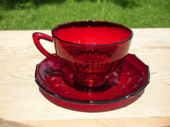 Red Depression Glass Tea Cup and Saucer New by FindsandCreations,