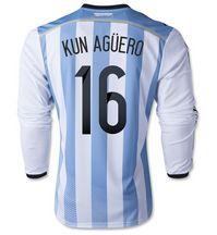 Argentina national team 2014 #16 KUN AGUERO Home Soccer LS [1405271559]