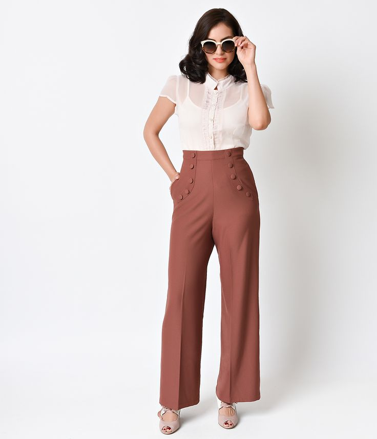 1940s High Waist Crepe Sailor Slacks $58.00 AT vintagedancer.com