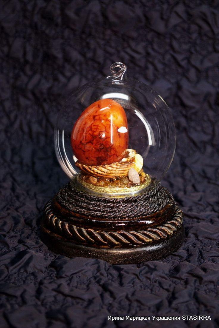 Купить Шар стеклянный с минералами Каменный сад - стеклянный шар, шар интерьерный, подарок директору