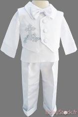 Ensemble baptême garçon en satin blanc brodé d'une croix