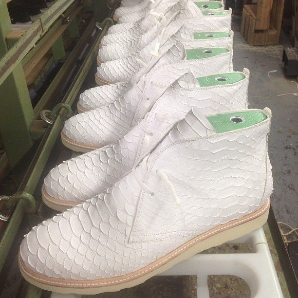 Snow White. Clothsurgeon x @modernvice High Grade White Python Skin Chukka Boot on the production Line, @Ronnie Laine Kebert Fieg order nearly ready. Designed in #london Made In #newyork with the same Work Ethics. #clothsurgeon #modernvice #quality #levels #nofilter