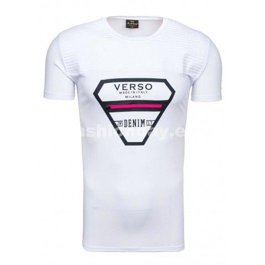 Pánske tričko bielej farby s ružovým zipsom na hrudi - fashionday.eu