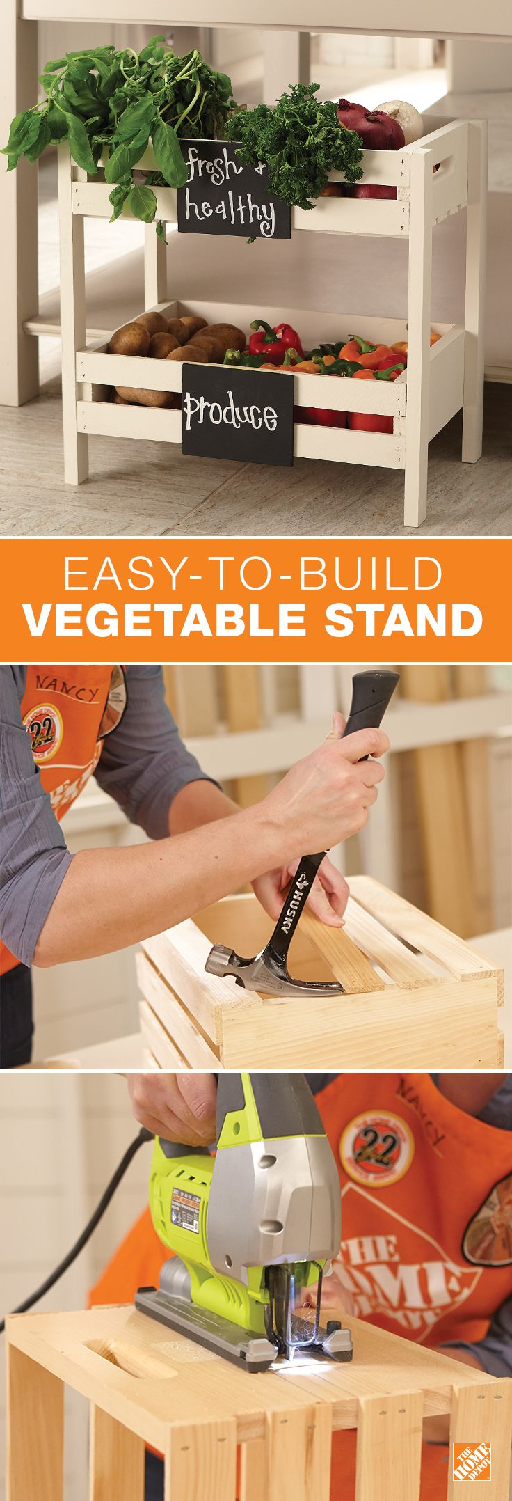 Build a crafty home for your vegetables with our DIY wooden vegetable storage shelf for your kitchen. Using a circular saw and other carpentry tools, you can build your own produce stand, complete with a chalkboard sign to identify your fruits and veggies.