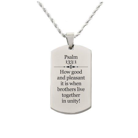 Pink Box Holy Scripture Tag Necklace in Solid Stainless Steel - Psalm 133:1