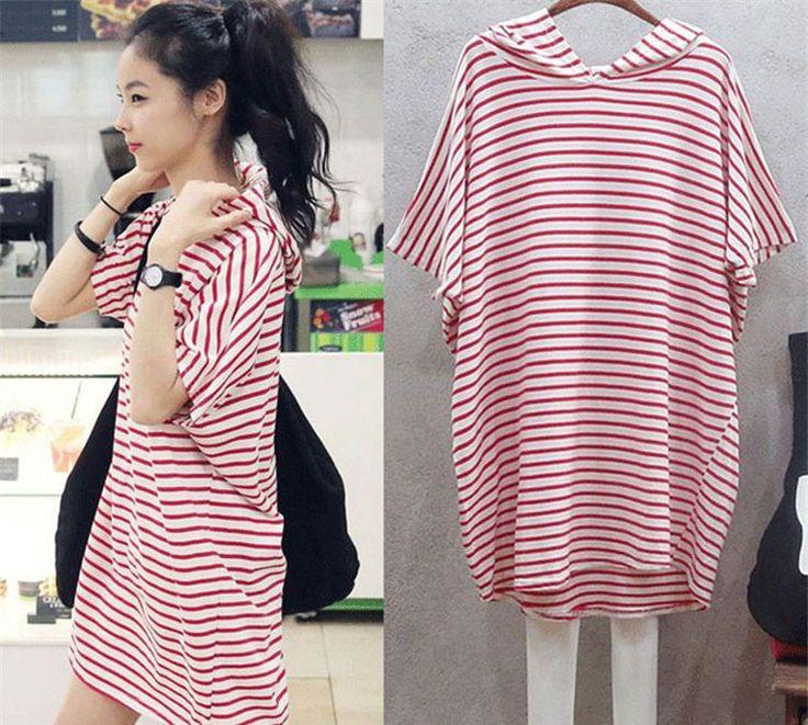 Fashion Women's Stripe Batwing T-Shirt Loose Sweats Short Sleeve Hoodies 2Xl