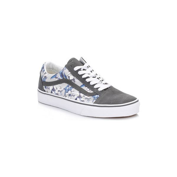 Vans Womens Floral Pewter and True White Old Skool Suede Trainers... (78 PAB) ❤ liked on Polyvore featuring shoes, sneakers, grey, trainers, women, gray suede shoes, vans shoes, pewter shoes, white trainers and suede shoes