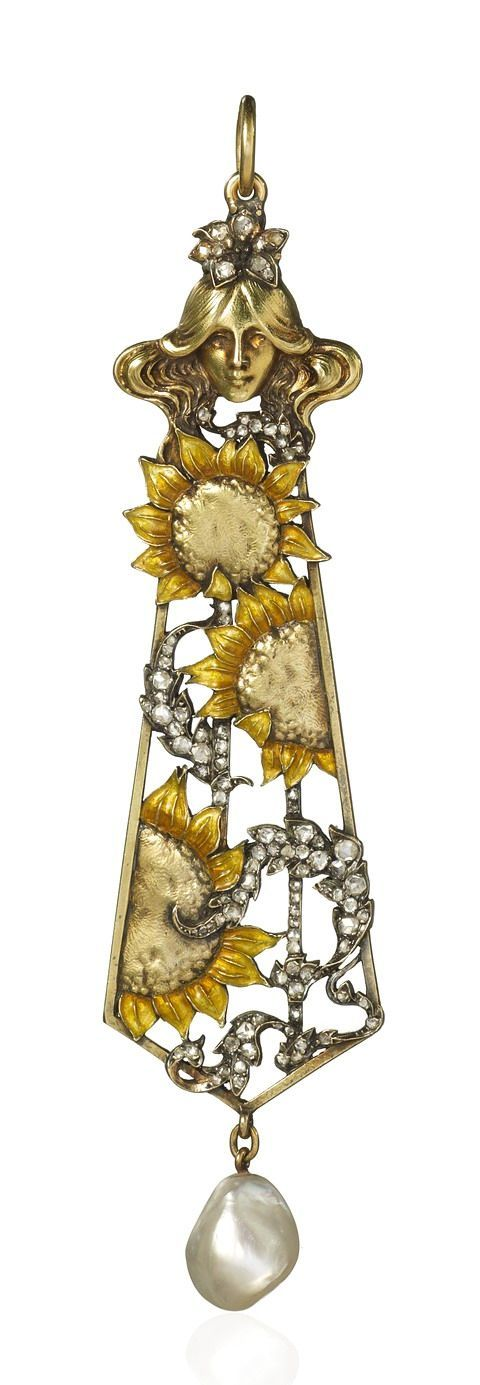 Rene Lalique 1896  -  Pendant of open elongated form beneath a maiden's head motif surmount and set with enamelled sunflower motifs and diamond set fronds within a yellow gold frame suspending a natural pearl drop.