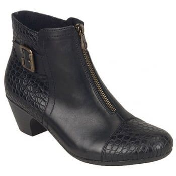 These boots are a modern classic ankle boot with a front zip for ease of entry and leather & Snake upper with Buckle detailing to add the glamour. There is a 4 cm block heel giving you some height and is perfect for the everyday wear or for nights out. http://www.marshallshoes.co.uk/womens-c2/rieker-womens-kiama-black-snake-zip-ankle-boot-70581-00-p3883