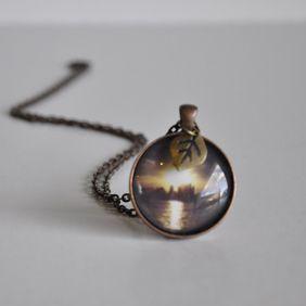 Round Copper Sunset Necklace - WildSparrowDesign