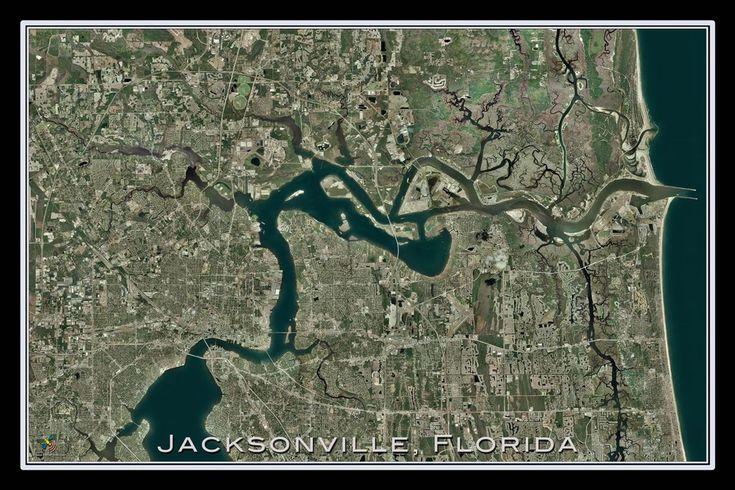 Jacksonville Florida From Space Satellite Poster Map – TerraPrints.com