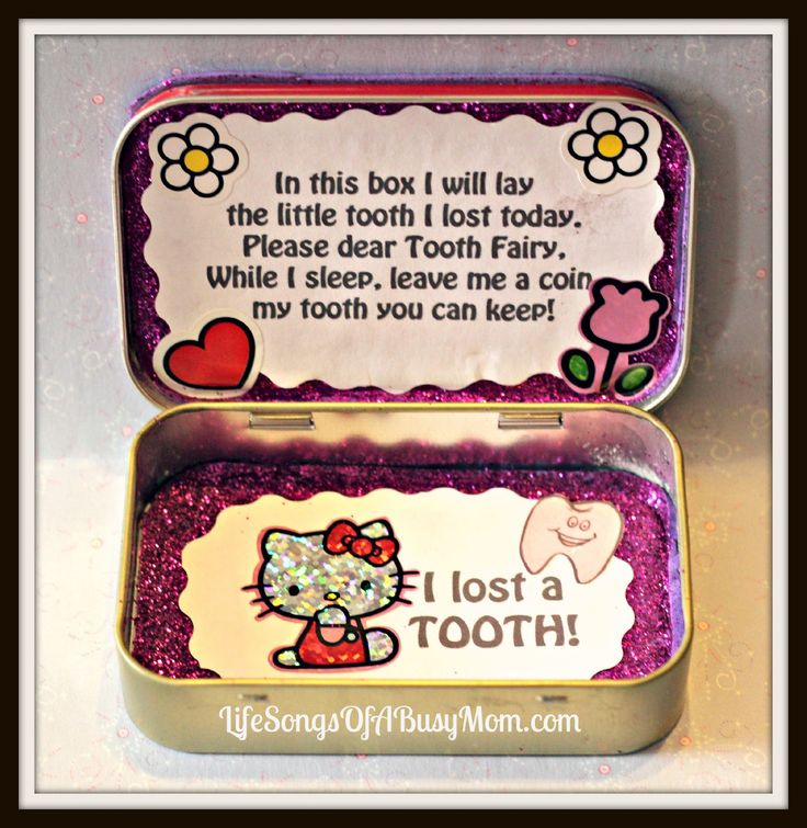 "TOOTH FAIRY: DIY Tooth Fairy Box.  Poem inside: "" In this box I will lay / the little tooth I lost today. / Please dear Tooth Fairy,  /  While I sleep, please leave me a coin  / My tooth you can keep!"" //  Made with an Altoids tin."