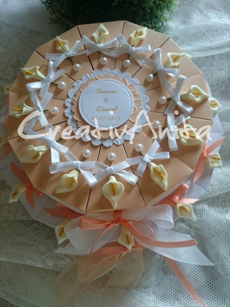 Schachteltorte z. Hochzeit *APRICOT-CALLA* 2stöckig - Geldgeschenk Gastgeschenke