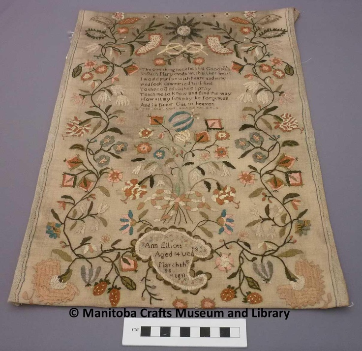 """Sampler made by Ann Elliott in 1811 when she was 14 years. Text: The one thing needful, that Good part Which Mary chose with all her heart I would pursue with heart and mind And seek unwearied till I find To thee o God to thee I pray Teach me to know and find the way How all my sins may be forgiven And a sinner get to heaven. At the bottom """"Ann Elliot/Aged 14 years/March the 28/1811"""""""