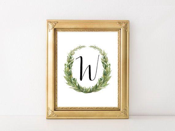 Kindergarten-Buchstaben angepasst erste druckbare Kunstdruck 5 x 7 8 x 10-11 x 14 jungen Kinderzimmer Decor Babyparty Drucken Hochzeit Monogramm grün Kranz