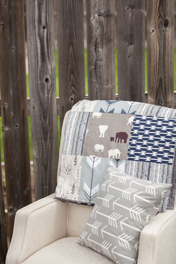 Baby Blanket Patchwork Crib Blanket Nursery by CandyBabyCollection