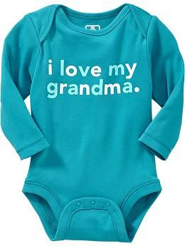"""""""I Love My Grandma"""" Bodysuit in cyan blue. *No Longer Available* ---- baby clothes. newborn. pregnancy. blue and white long sleeve onesie. Old Navy."""