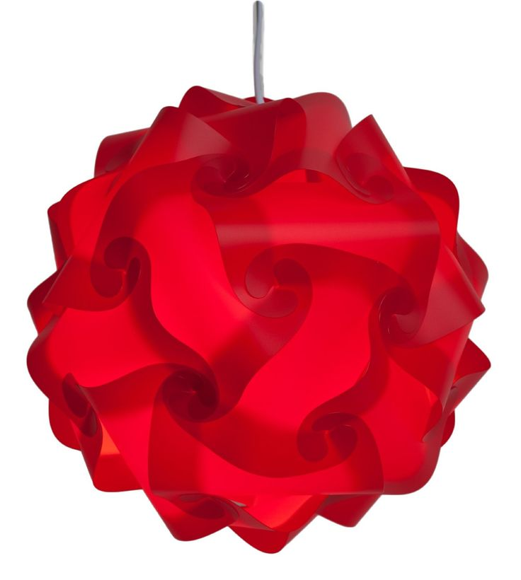 Unique Red Lamp Shade-Medium 13 Inch-(Red).  NOTE: Light Cord is not included, but is available on our site or you may purchase at your local store.  Decorative contemporary lamp shade for ambient lighting in home, child rooms, bedroom, dorm, office, patio, garden and more!  Kit includes 30...