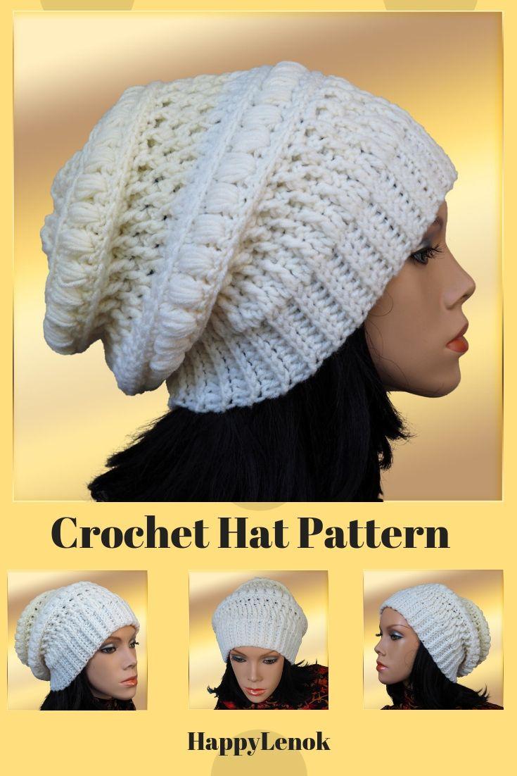 Crochet Slouch Beanie Hat Pattern Tutorial Crochet Hood Pattern