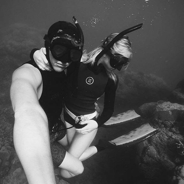 "#brinkleydavies with her New Custom Spierre Pure Carbon freediving fins - ""Growing gills together"" #GoPro #goproau  #justpassingthrough #GBR #freedive #spierre #freediving #carbonfins #mermaiding"