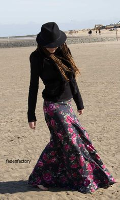 Maxirock selber nähen, maxi skirt, Damenrock selber nähen, Schnittmuster, DIY, Nähen