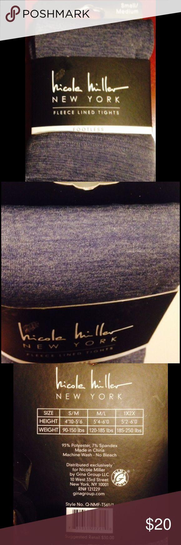 💋Nicole Miller-Fleece lined, footless tights💋 🌟Nicole Miller-fleece lined, footless tights! Blue/Jean colored🌟 Nicole Miller Accessories Hosiery & Socks