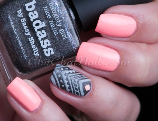 Neon with Aztec Nail Art Accent.  Color Club: ★ East Austin ★ ... a bleached / acid-washed neon peach nail polish.  piCture pOlish: ☆ Badass ☆