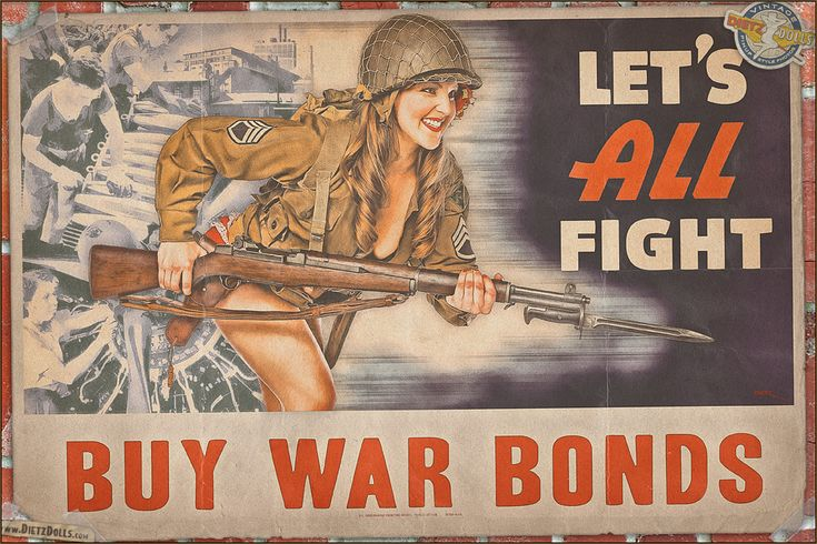 Let's All Fight - WW2 propaganda style pinup poster Model: Kayla Photographer: Britt Dietz © Dietz Dolls Vintage Pinup Photography