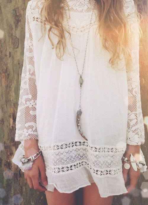 Gorgeous White Lace Sleeved Summer Dress