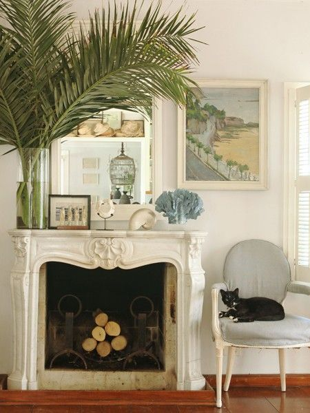 Photo gallery rooms to inspire by the sea french country fireplaces and the fireplace - Fireplace mantel designs in simple and sophisticated style ...