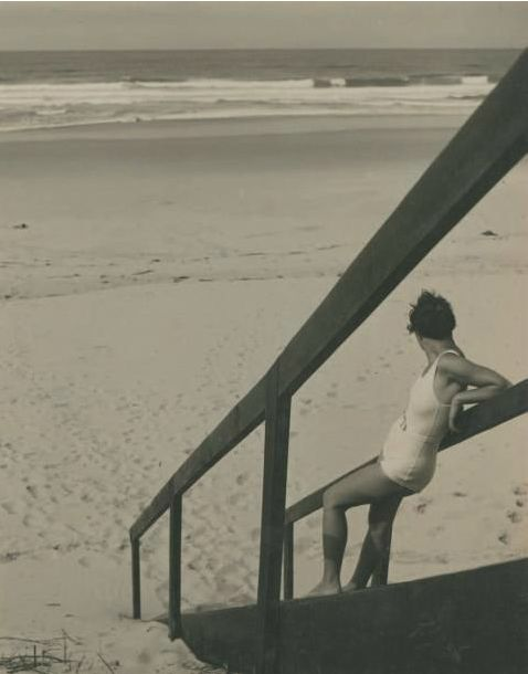 Photo by Jean Moral (1906-1999), ca 1932,  Juliette sur la plage.