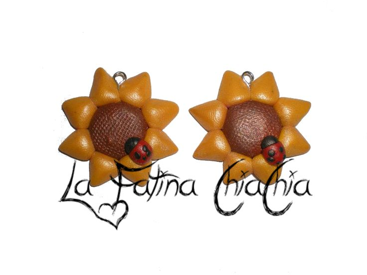girasoli con coccinella - #Fimo