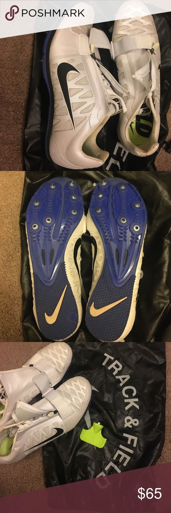 Long jump spikes These have been worn to 2 track meets. They are practically brand new. In great condition. Bag and tool to remove spikes are included. Nike Shoes Athletic Shoes