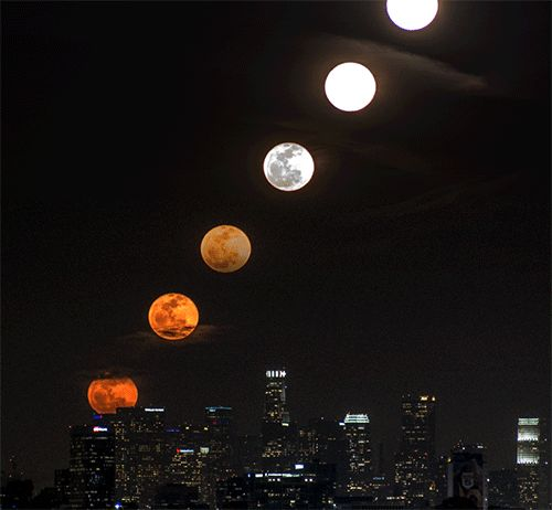 A Moon Rise Over Los Angeles as a Time-Slice, Time-Lapse, and Animated GIF