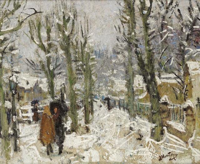 Snowy Landscape - Pierre-Eugene Montezin