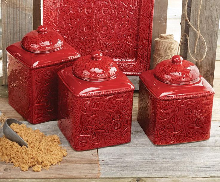 savannah red canister set western kitchen accessories