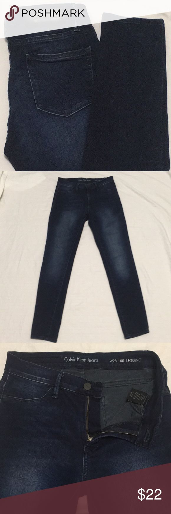 """Calvin Klein Denim Leggings Size 28 Leggings are in excellent condition. I found these to run a little small in the waist for a size 28. Very soft with a fair amount of stretch. 98% cotton , 2% elastane. Dark blue with some subtle factory whiskering and fading. While laying flat: 28"""" inseam, 8.5"""" rise, 13.5"""" waist (waist measured straight across without stretching). Thanks for shopping! Calvin Klein Jeans Pants Leggings"""