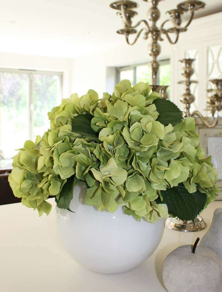 Paint clear vase white, green hydrangeas (rose/hydrangea combo at hobby lobby), on top of small armoire in master  OR green hydrangea bush with boxwood like greens mixed in