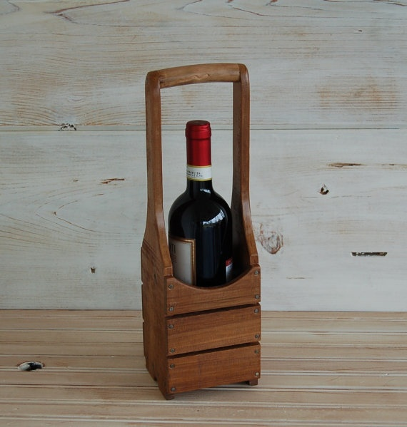 Single Bottle Wine Trug by BarbedWireMercantile on Etsy, $20.00