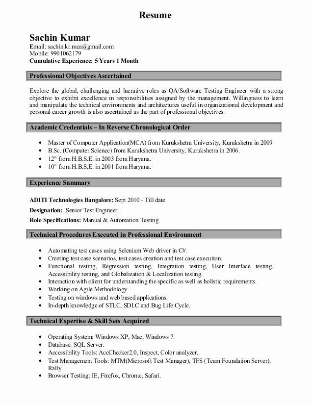 Software Testing Resume 5 Years Experience Inspirational Resume Sachin Kumar Software Testing Resume Project Manager Resume