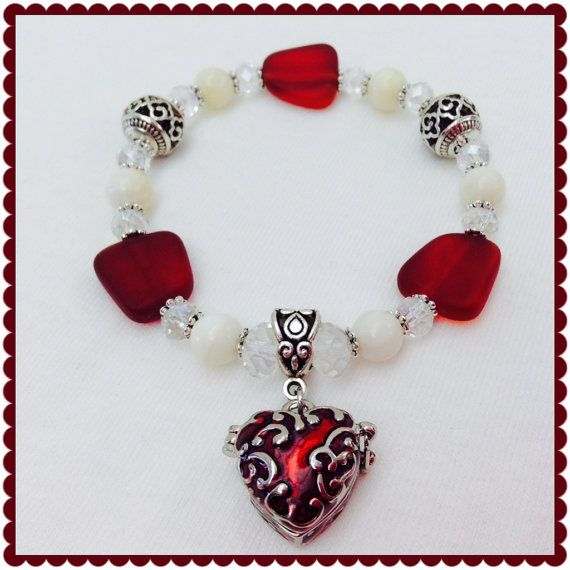 Check out this item in my Etsy shop https://www.etsy.com/listing/246513597/sea-glass-bracelet-charm-bracelet-red